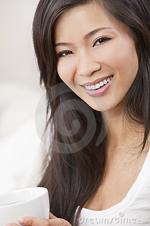 Beautiful Chinese Woman Drinking Tea Coffee