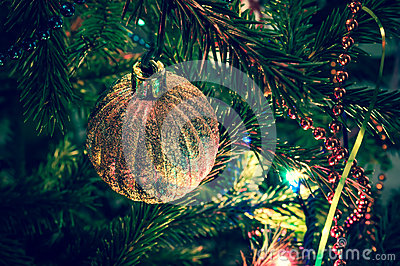 Beautiful christmas ball on xmas tree