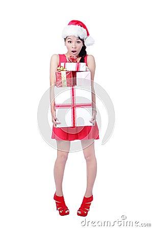 Beautiful Christmas Girl happy holding gift