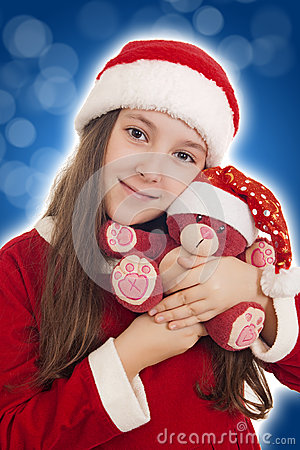 Beautiful Christmas Girl with teddy bear