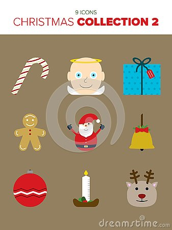 9 beautiful Christmas icons Stock Photo