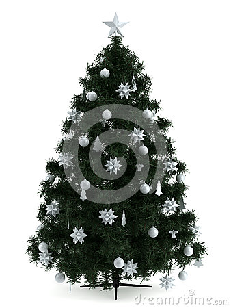 Beautiful christmas tree  on white