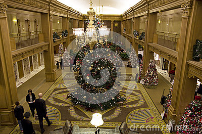 Beautiful Christmas trees in a luxury hotel Editorial Stock Image