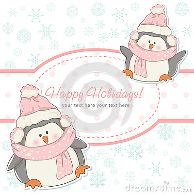 Beautiful Christmas winter card with penguins