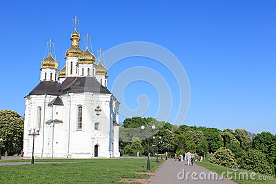 Beautiful church on a background of the blue sky Editorial Photo