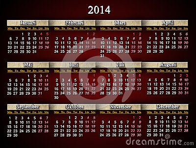 Beautiful claret calendar for 2014 year in Swedish