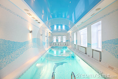 Beautiful clean pool with images of dolphins at bottom