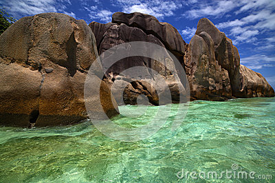 Beautiful clear blue green water among shore rocks