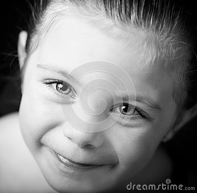 Beautiful cloe up portrait of little girl