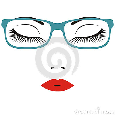 Beautiful close eye with glasses Vector Illustration