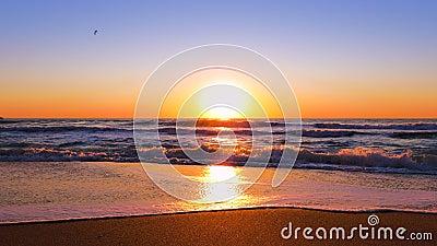 Beautiful sunrise over the sea stock footage