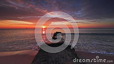 Beautiful sunrise over the sea stock video footage