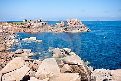 Beautiful coast of Brittany with big rocks