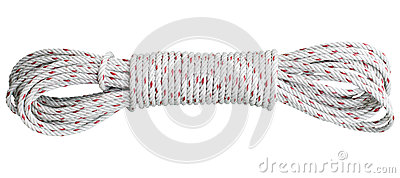 Beautiful coil of rope isolated white