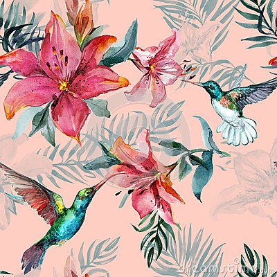 Free Beautiful Colorful Flying Hummingbirds And Red Flowers On Pink Background. Exotic Tropical Seamless Pattern. Watecolor Painting. Stock Photos - 120339233