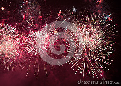Beautiful colorful holiday fireworks Stock Photo