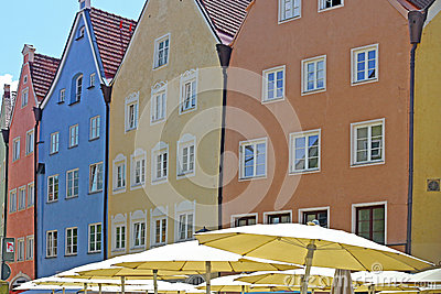Beautiful colorful houses in Fussen