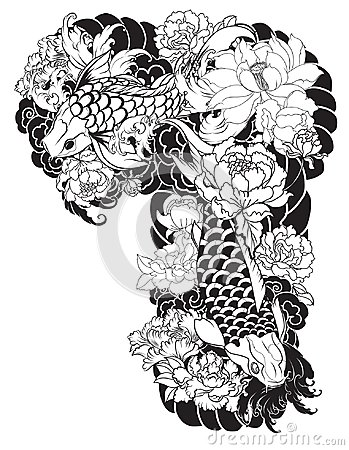 Free Beautiful, Colorful Koi Carp With Water Splash, Lotus And Peony Flower. Traditional Japanese Tattoo Design. Royalty Free Stock Photography - 99564607