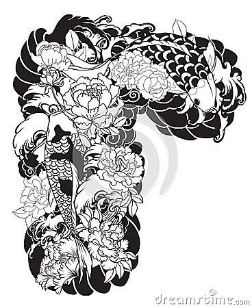 Free Beautiful, Colorful Koi Carp With Water Splash, Lotus And Peony Flower. Traditional Japanese Tattoo Design. Stock Image - 99564621