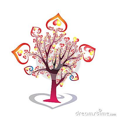 Beautiful,colourful Heart Tree, red & yellow heart,tre e,hearts Stock Photo