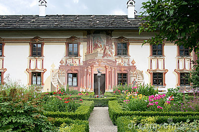 Beautiful colourful house and garden, Oberammergau