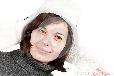 Beautiful confident woman wearing a winter hat