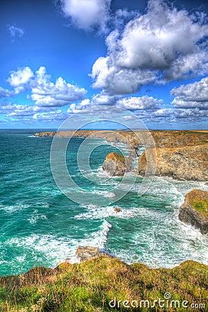 Free Beautiful Cornish Coast Bedruthan Steps Cornwall England UK Cornish North Coast Near Newquay In Stunning Colourful HDR Stock Photography - 50415672