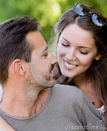 Beautiful couple at the park