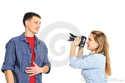 Beautiful couple photographing