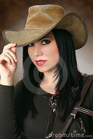 Free Beautiful Cowgirl Wearing Hat Stock Image - 1399721