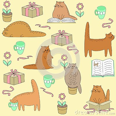Beautiful creative textiles. Cute cat reads, sleeps, sits, drinks. Wallpaper for a children`s room with a pet, beautiful patterns Cartoon Illustration
