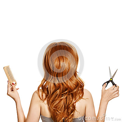 Beautiful curly hair and hairdresser s tools