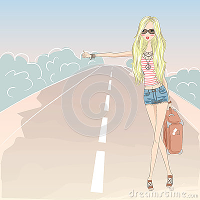 Free Beautiful Cute Blonde Girl On The Road. Stock Photos - 85146233