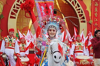 Beautiful dancers represent horsemen Editorial Photography