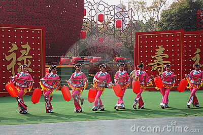 Beautiful dancers in traditional costumes Editorial Photo
