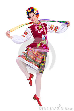 Beautiful dancing girl in ukrainian polish national traditional costume clothes happy smile, full length portrait isolated