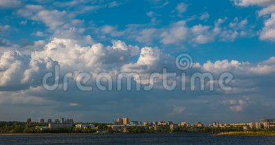 Beautiful daytime timelapse of clouds over the winter landscape, city of Izhevsk, the Udmurt Republic, Russian. Beautiful daytime timelapse of clouds over the stock video footage