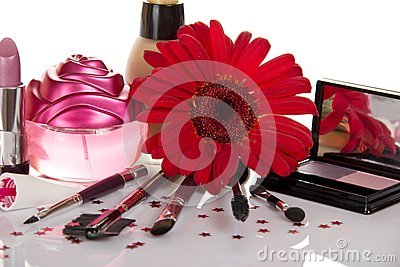 Beautiful decorative cosmetics with a flower