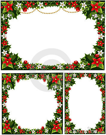 Beautiful decorative frames, garlands of holly