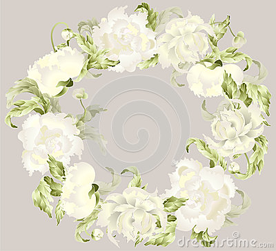 Beautiful decorative framework with peony.