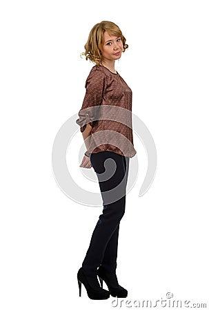 Beautiful demure young blonde woman