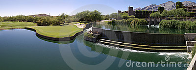 Beautiful desert golf resort with lake waterfall