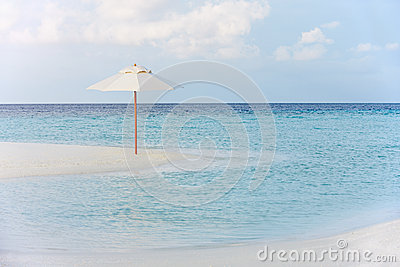 Beautiful Deserted Beach With Parasol