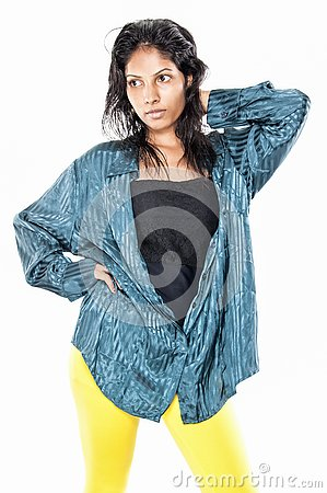 Beautiful desi girl on white background