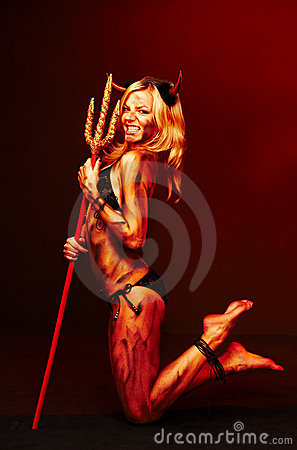 Beautiful devil with trident - Halloween