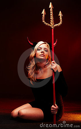 Free Beautiful Devil With Trident Stock Photo - 16260640