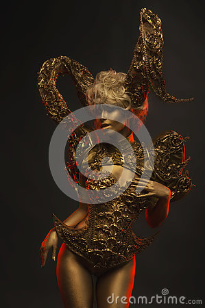 Free Beautiful Devil Women With Golden Ornamental Horns Royalty Free Stock Photo - 81633225