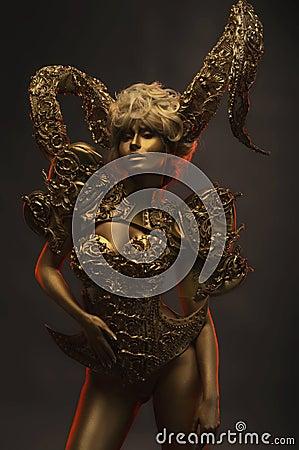 Free Beautiful Devil Women With Golden Ornamental Horns Stock Photos - 81678983