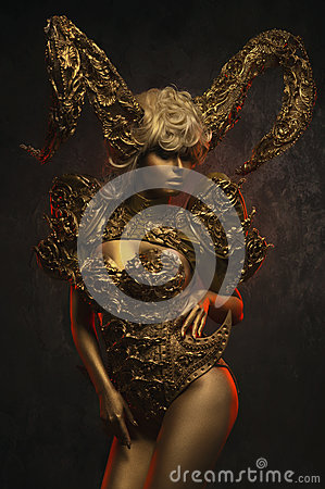 Free Beautiful Devil Women With Golden Ornamental Horns Stock Image - 81679071