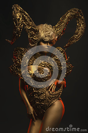 Free Beautiful Devil Women With Golden Ornamental Horns Royalty Free Stock Photos - 82004178